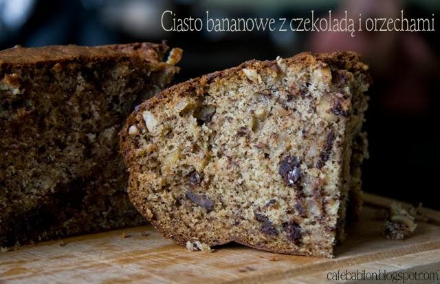 Ciasto bananowe z czekoladą i orzechami