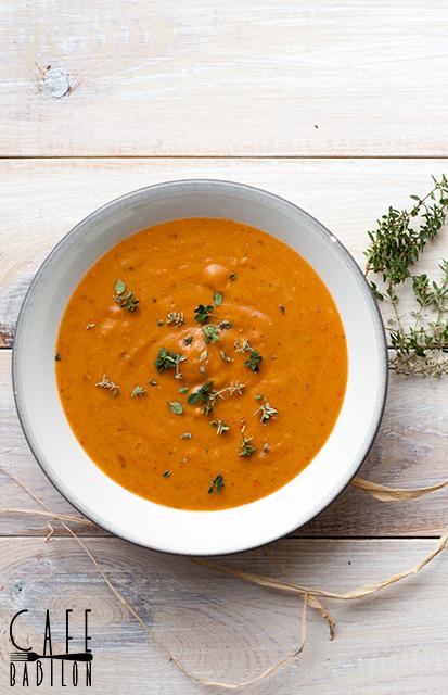 Zupa krem z bakłażana i pieczonych warzyw